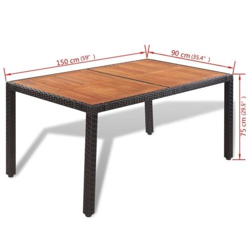 Набор для обеденного стола из семи предметов Poly Rattan Acacia Table Top