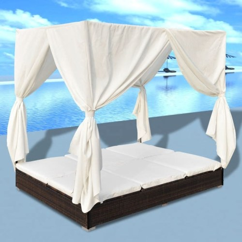 Festnight 2-Person Sun Lounger with Curtains Sunbed Outdoor Sofabed Garden Furniture Weather-Resistant & Waterproof PE Poly Rattan Removable & Washable Cushion Brown