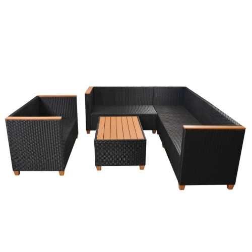 set of garden sofas 27 pieces of synthetic rattan and black wpc