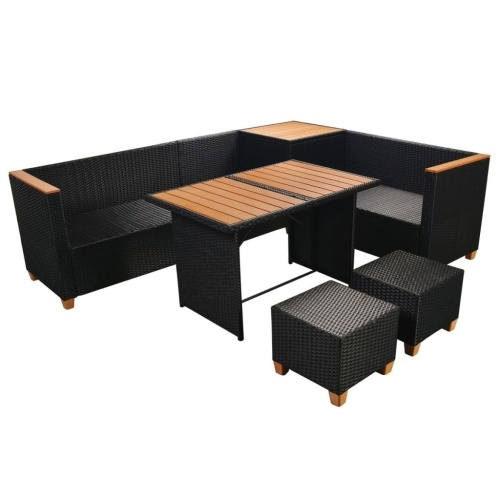 garden furniture 22 pieces of synthetic rattan and black wpc