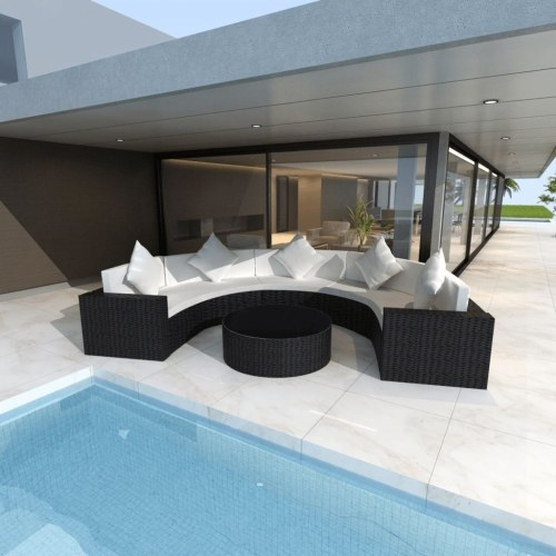 garden sofa set half-round poly rattan black