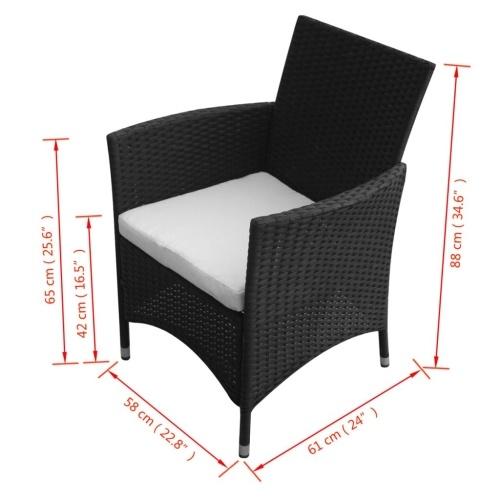 Садовые стулья 2 шт. Черный ротанг