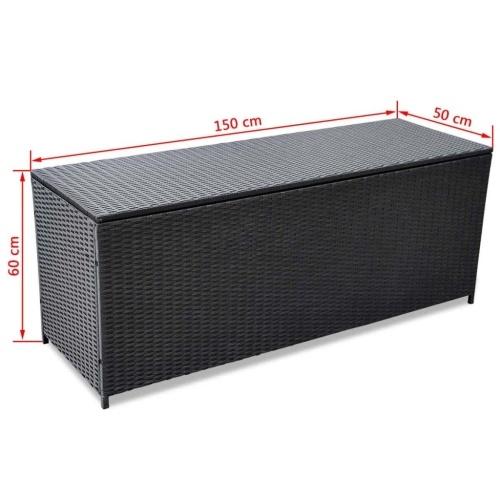 Contenitore esterno polyratán nero 150x50x60 cm