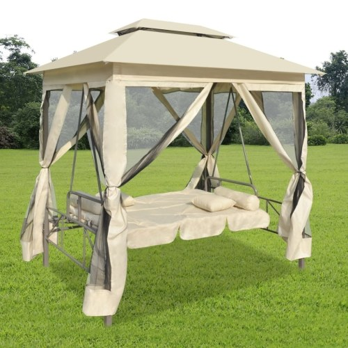 Festnight 2-Person Gazebo Swing Chair Patio Daybed with Canopy, Mesh Walls with Corrosion-Resistant, Hook & Loop Fasteners Cream White