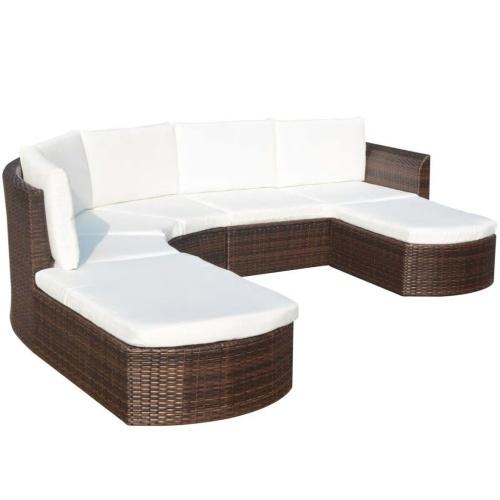 Set divano da giardino in rattan sintetico marrone da 16 pezzi