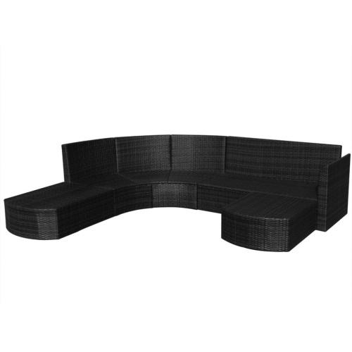 16 штук садовый диван Набор Poly Rattan Black