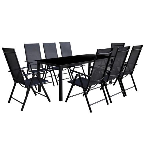 Nove peça mobiliário de jardim conjunto preto de alumínio