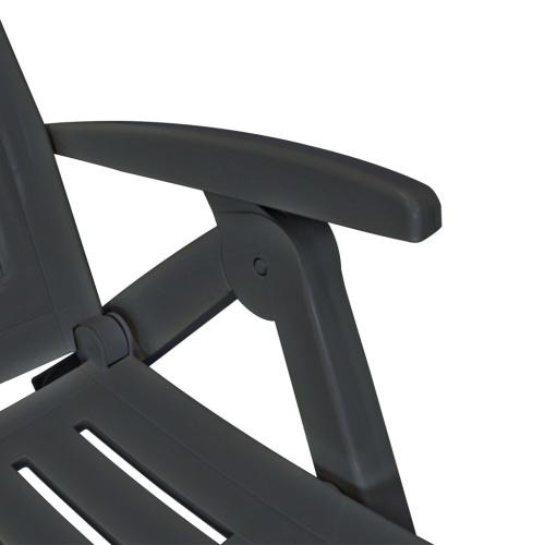 Liegestuhl mit anthrazitfarbener Kunststoff-Fußstütze