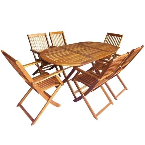 7 peças dobráveis de jantar ao ar livre conjunto sólido de madeira de eucalipto