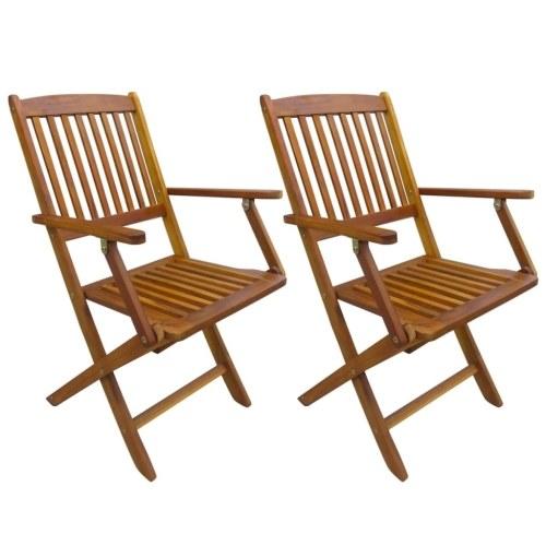 Folding Garden Chairs 2 pcs Solid Eucalyptus Wood