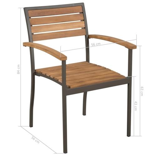 Штабелируемые уличные стулья 2 шт. Твердая акация, дерево и сталь