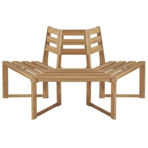 Half-hexagonal 63inch Solid Acacia Wood Tree Bench