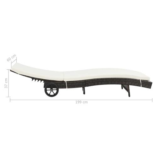 Шезлонг с колесиками и подушкой из полиуретана, коричневого цвета