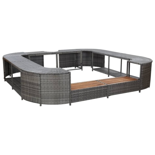 Festnight Square Spa Surround, Poly Rattan Square Hot Tub Surround Gray 105.5