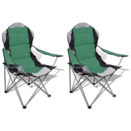 Sedia Pieghevole Set 2 pezzi sedie da esterno XXL con sacchetto verde