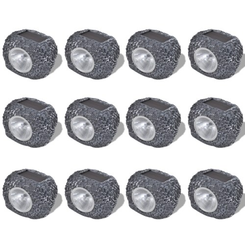 Riflettore solare esterno con LED Forma pietra 12 pezzi