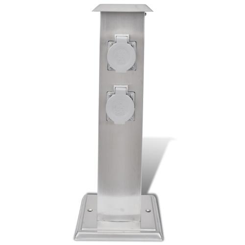 Presa Elettrica da Giardino a Pilastro in Acciaio Inossidabile