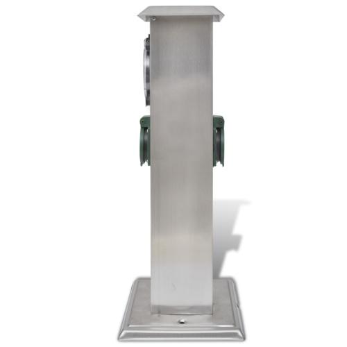 Presa Elettrica da Giardino a Pilastro Acciaio Inossidabile con Timer
