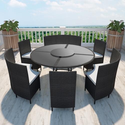 Polyrattan 12 personne table ronde et des chaises fixées noir