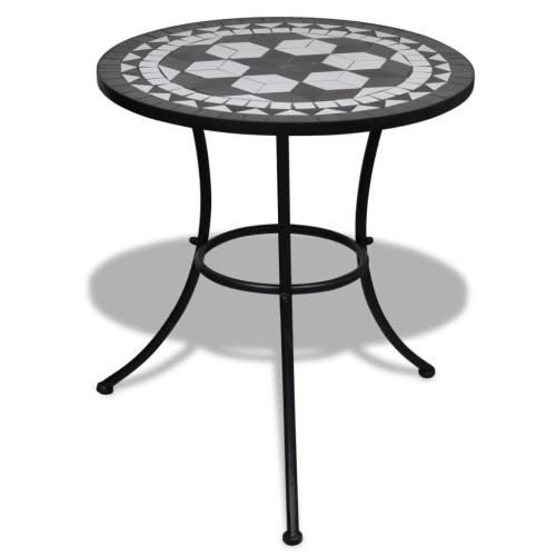 Mosaic table with 60 cm Black / White