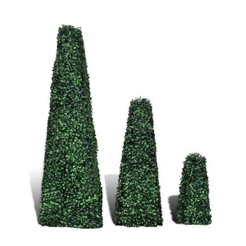 Set 3 Stück Pyramide von Topiary künstliche Buchsbaum