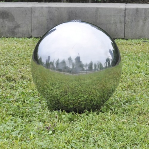 Fontana da giardino a sfera con LED in acciaio inossidabile 20 cm