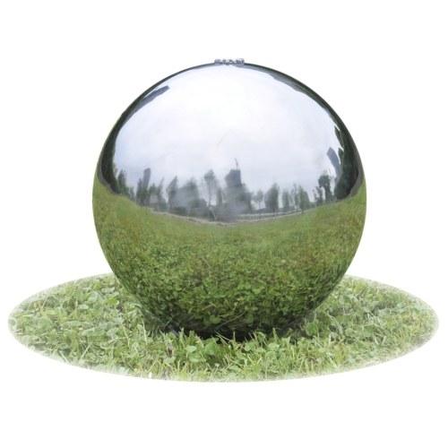 Fontana da giardino a sfera con LED in acciaio inossidabile 30 cm