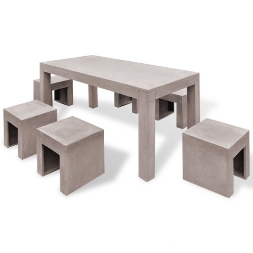 outdoor dining set for 7 pcs concrete