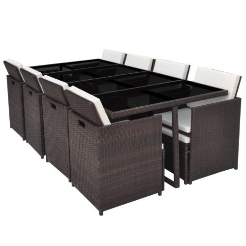 Наружный стол и стул из 33 шт. В коричневом полираттане