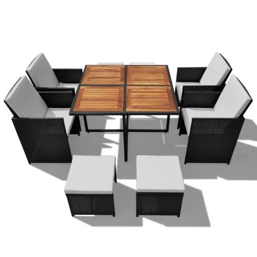 Настольный набор Садовые стулья 21 шт. Полиратт черный и акация
