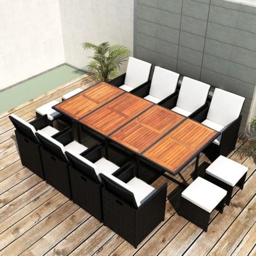 Настольный набор Садовые стулья 33 шт. Полиратт черный и акация