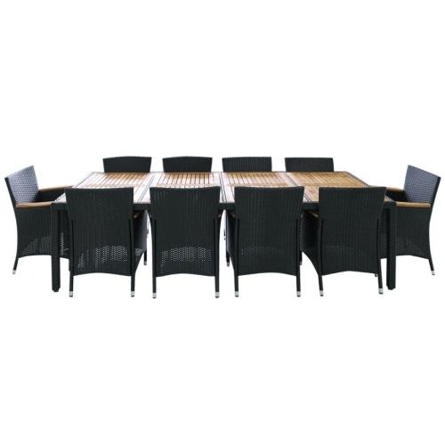 table set garden chairs 21 pcs in black polirattan