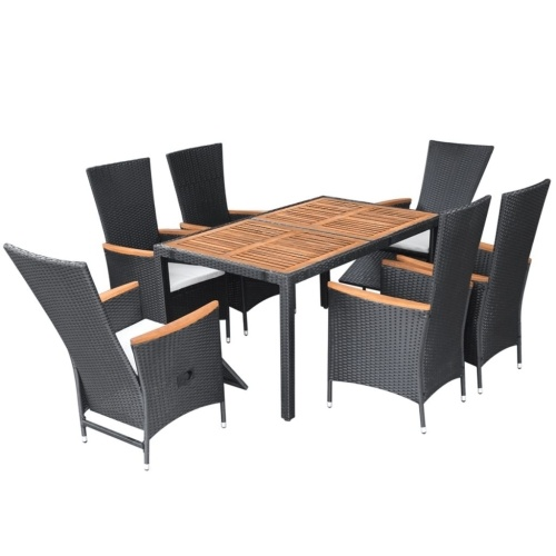 table set garden chairs 13pz polirattan black and acacia xxl