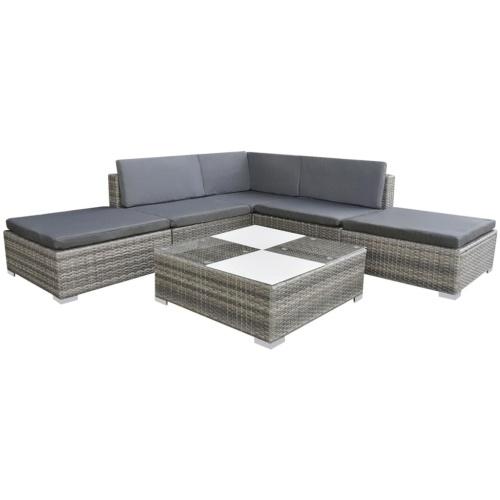 garden sofa set 15 pcs in gray modular polirattan