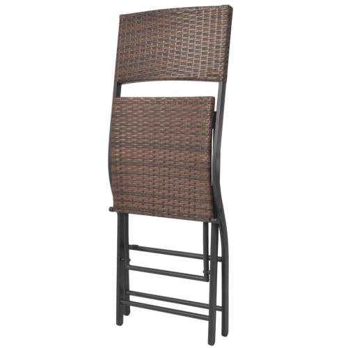 Настольный набор Садовые стулья 3 шт Полираттан Складной коричневый