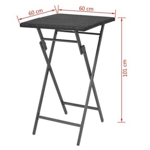 Набор столовых и садовых стульев 3 шт. Полираттан Складной черный