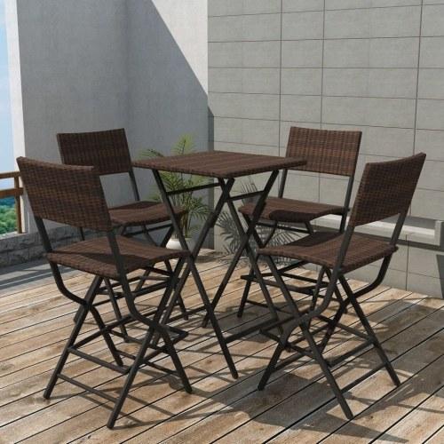 Настольный набор Садовые стулья 5 шт Полираттан Складной коричневый