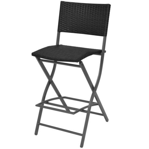 Садовый стол и стулья Комплект 5 шт. Полираттан Складной черный