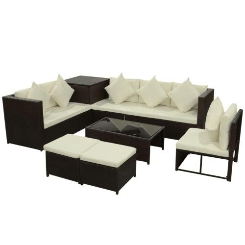 garden sofas set 26 pcs in brown modular polirattan
