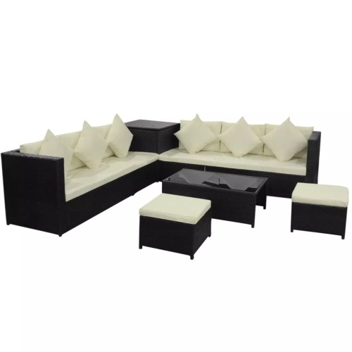 set of garden sofas 26 pcs in black modular polirattan