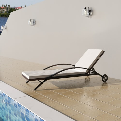 Sunlounger with Cushion Adjustable Backrest Brown