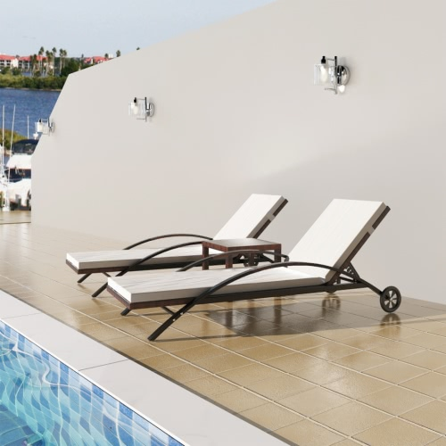 Rattan Set avec 2 Sunloungers 1 Table Brown