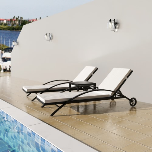 2x Sunlounger with Cushion Adjustable Backrest + 1 x Black Table