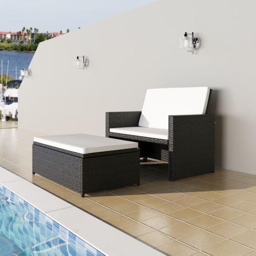 3 en 1 Canapé-lit pliant Set en rotin Canapé-lit Mobilier Set Black