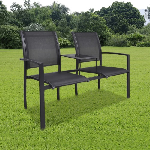 Double Steel Chair Textilene Double Black