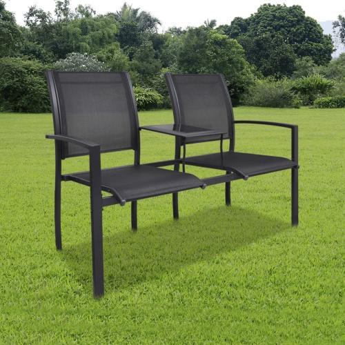 Double Chaise en acier Textilene Double Noir