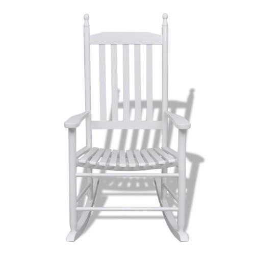 Meciéndose en líneas curvadas blancos silla de madera