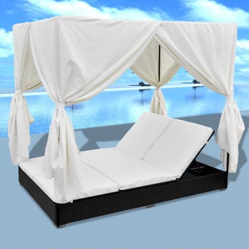Negro de lujo al aire libre de la rota Sun cama 2 personas con cortina