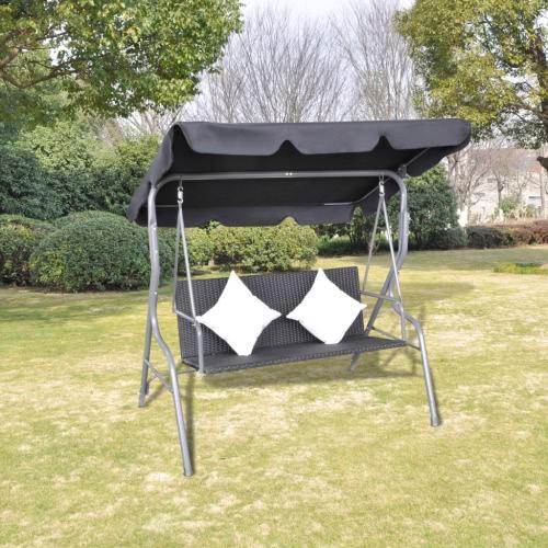 Outdoor Hanging sedia dell'oscillazione del rattan con un baldacchino nero