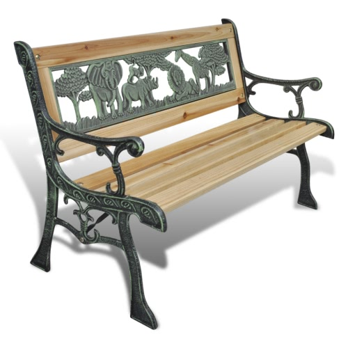 Garden bench children animal design 80 x 24 cm